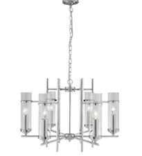 SEARCHLIGHT MILO CHROME 6 LIGHT FITTING WITH CLEAR GLASS CYLINDER SHADEs RRP £25