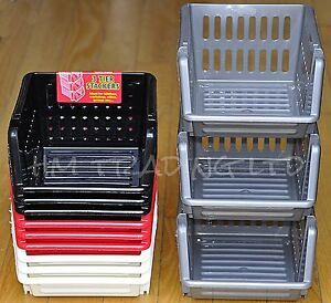 3Tier Plastic Vegetable Fruit Basket Stacking Kitchen Office Garage Storage Rack