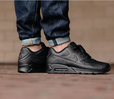 Nike Air Max 90 Leather Triple Black 302519-001 Running Shoes Men's Multi Size