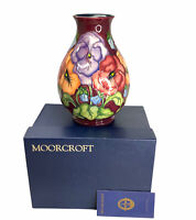 Vintage Moorcroft Pancy 7/7 By Rachel Bishop ,Vases ,Mint Condition With O Box