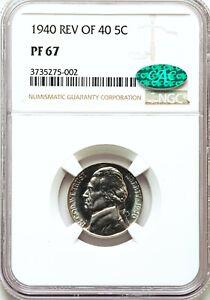 1940 NGC + CAC PR67 Proof Jefferson Nickel Type Coin WW2 High Grade GEM PQ PF67