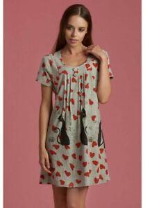 Purplish London Cat & Heart Dress Vintage Kleid Strickkleid Katze & Herz M 38 40