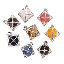 Natural Healing Crystal Quartz Round Beads Merkaba Chakra Reiki Gemstone Pendant