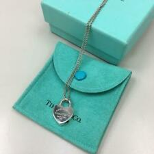 TIFFANY & CO Sterling Silver Return to Tiffany Heart Padlock Pendant Necklace 3