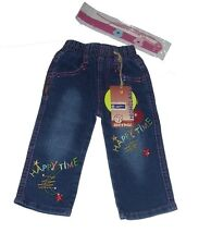 Girls Happy Time Blue Elasticated Waist Embroidery Detail Denim Jeans.12Months