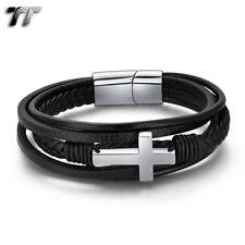 TT Black Leather 316L Stainless Steel Cross Wristband Bracelet (BR302) 2019 NEW