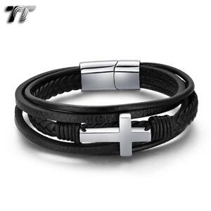 TT Black Leather 316L Stainless Steel Cross Wristband Bracelet (BR302S) NEW