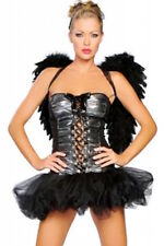 3 Piece Dark Fallen Angel Costume Halloween Dress Wings & Thong Size 8-10