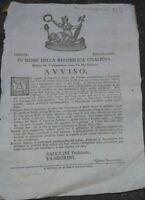 1797 REPUBBLICA CISALPINA MODENA, PROCLAMA SUI PRATI CALPESTATI DAI CARRI