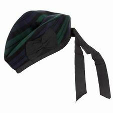 BLACK WATCH TARTAN 100% WOOL GLENGARRY HAT SCOTTISH HIGHLAND WEAR