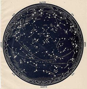 Poster - Vintage 1963 Constellations Star Map (Zodiac Galaxy Universe Moon Mars)