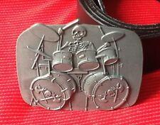 Kit de tambor esqueleto baterista de rock & Roll Música Heavy Metal Hebilla Cinturón De Cuero