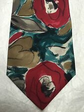 OLEG CASSINI MENS TIE RED GREEN GRAY GOLD 4 X 59