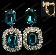 "2""CLIP ON faceted PEACOCK BLUE EARRINGS gold tone CRYSTAL rhinestone GLASS retro"