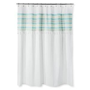 Fabric Shower Curtain Beach Blanket Stripe Fringe White Aqua Green Foutah Tassel