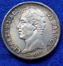 MONNAIE DE 5F ECU EN ARGENT CHARLES X ROI DES FRANçAIS 1827  L  BAYONNE