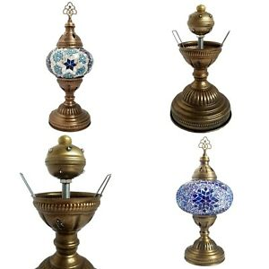 Turkish Battery Table Lamp Cordless  Moroccan Glass Mosaic Desk Lamp LED Lights