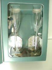Lenox 2000 Millennium Edition Flutes Stemware Glasses Silver Coasters New Nib