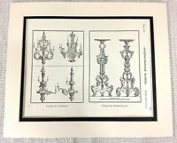 1903 Antik Aufdruck Louis XV Kandelaber Lampe French Jacques Francois Blondel