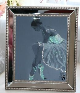 Grey Ballerina Glitter /crystal Art picture, Print ONLY or with Mirror Frame.