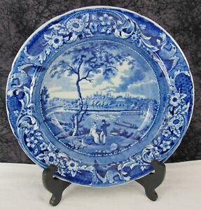 "Antique Staffordshire Blue Transferware Fairmont Near Philadelphia 10"" Soup Bowl"