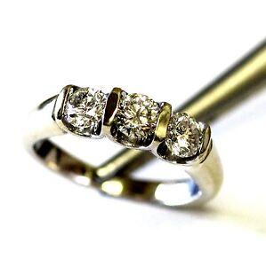 14K white gold .84ct SI3 I diamond wedding band ring womens 4.6g ladies vintage