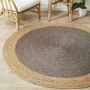 Rug round natural braided jute handmade reversible rustic look home decor carpet