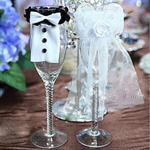 2 Pcs/set Wine Glass Charms Wedding/Bride Groom/Romantic Craft Table Decor LD