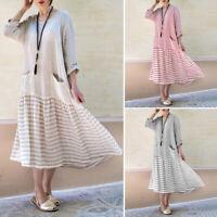 Women Striped Vintage Retro Long Sleeve Loose Casual Ruffle Oversized Long Dress