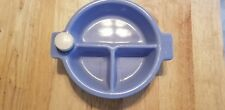 Vintage  Divided BABY FOOD WARMER Dish Blue With Stopper