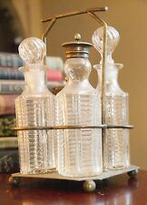 VINTAGE EPNS 549 CRUET SET SILVERPLATE 4 GLASS BOTTLES GROUND STOPPERS DECO WOW