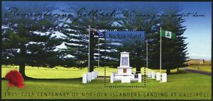 Norfolk Insel 2015 Gallipoli 1. Weltkrieg World War Denkmal Flaggen Flags MNH