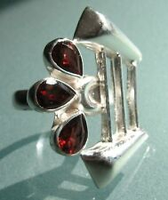 925 silver triple CUT GARNET cocktail ring UK O½-¾/US 7.75