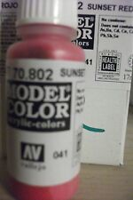 SUNSET RED ACRYLIC HOBBY MODEL PAINT 17ML BOTTLE VAL802 	 AV Vallejo Model Color