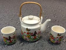 Vintage 3 Piece Otagiri Japan Japanese Tea Set White w/ Butterflies & Flowers