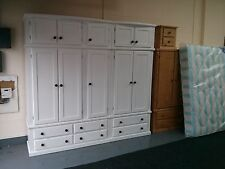 HANDMADE CLASSIQUE BOW FRONTED WHITE 5 DOOR 6 DRAWER EX-LARGE WARDROBE+TOPBOXES