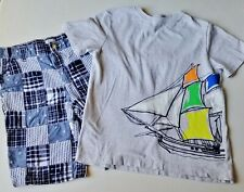 Boys GYMBOREE sailboat t shirt seersucker patchwork shorts 12 outfit nautical
