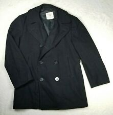 Us Navy Peacoat Wool Men's Size 40R Overcoat Enlisted Black Double Breasted Vtg