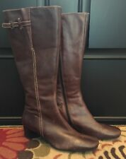 Ecco Brown Split Toe Tall Brown Leather Dress Boots Size 40/9