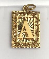 "18k Solid Yellow Gold Letter Initial ""A"" Rectangle Unisex Charm Pendant, 5.41 Gr"