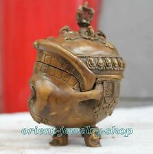 Chinese Old Culture Handmade Brass Bronze Statue Skull incense burner
