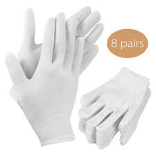WOMEN COTTON WHITE GLOVES JEWELRY SILVER INSPECTION LINING GLOVES(White 8 pairs)