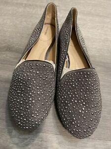 Lands End Womens Shoes Vivian Studded Suede Venetian Flat Gray 9.5