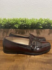 Cole Haan Burgundy Leather Kilted Buckle 03516 Loafers Men's Size US 10 D