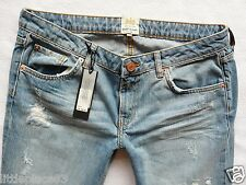 River Island NEW Jeans Size 12 R boyfriend girlfriend rips crop low rise  32/26