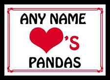 Love Heart Pandas Personalised Mousemat
