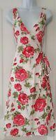 Womens Lk Bennett White Pink Rose Floral Sleeveless Linen Occasion Wrap Dress 12