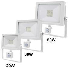PIR LED Flood Light Outdoor Security Floodlight 20W 30W 50W Slimline White Body