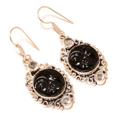 Carved Black Bone Face with Crystal Gemstone silver plated Handmade Earrings