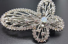 NEW SILVER BUTTERFLY WITH AUSTRIAN CRYSTAL & OPAL 3'' HAIR BARRETTE